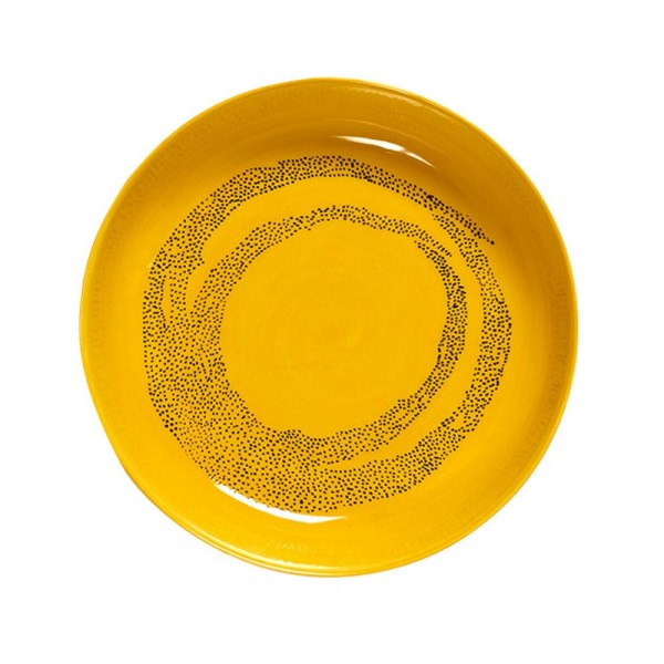 "Teller tief ""Feast Sunny Yellow Swirl Dots Black"""