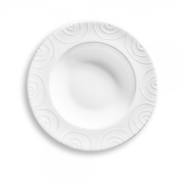 """Teller/Suppe Gourmet Ø24cm, """"Weißgeflammt"""""""